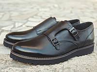 Мужские кожаные туфли монки на высокой подошве