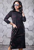 Модное трикотажное платье прямого кроя с карманами 44-50 размера черное с красными цветами, фото 1