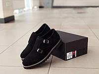 Мужские замшевые туфли монки на высокой подошве
