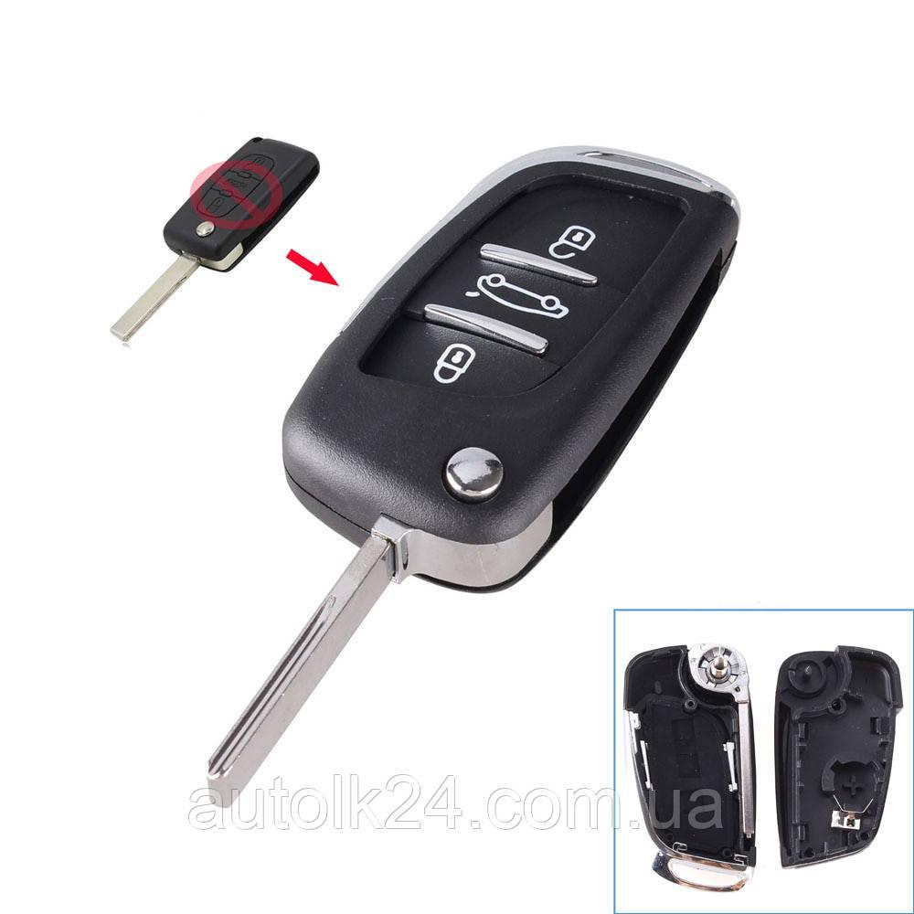 Корпус выкидного ключа Peugeot 3 кнопки .