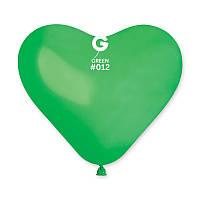 """Сердце 10"""" (25 см) зеленое пастель. Купить воздушные шарики в форме сердца"""