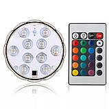 Светодиодная RGB подсветка для аквариумов, фонтанов, водоемов, кальянов 10 LED с пультом, фото 2