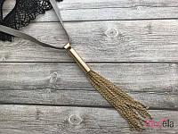 На сером шнурке подвеска 19201 (45 см) с золотыми цепочками на роботу прогулку вечеринку