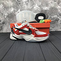 Мужские кроссовки Nike M2K Tekno x Off-White White\Red (ТОП РЕПЛИКА ААА+)