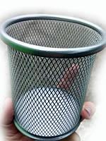 Стакан для ручек металл круглый серый