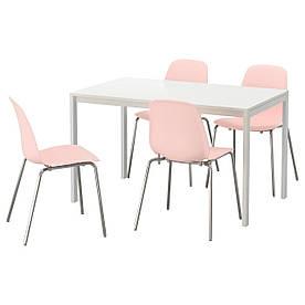 IKEA MELLTORP / LEIFARNE (592.203.64) Стол и 4 стула, розовый