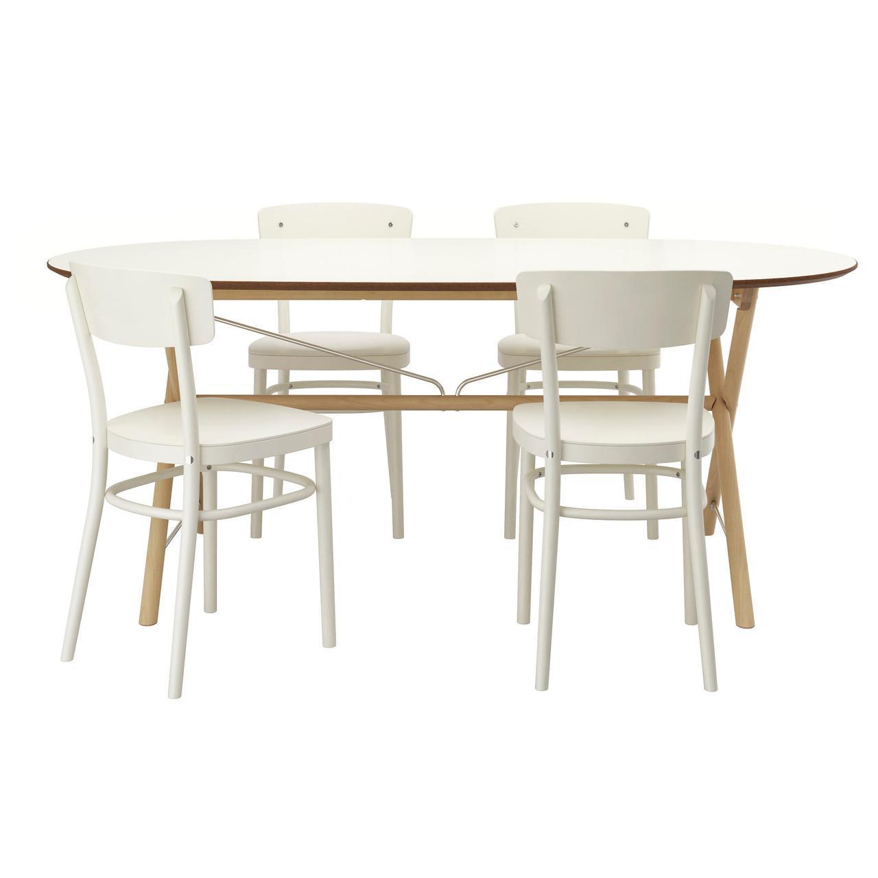 IKEA SLAHULT/DALSHULT / IDOLF (792.298.15) Стол и 4 стула, береза, белая