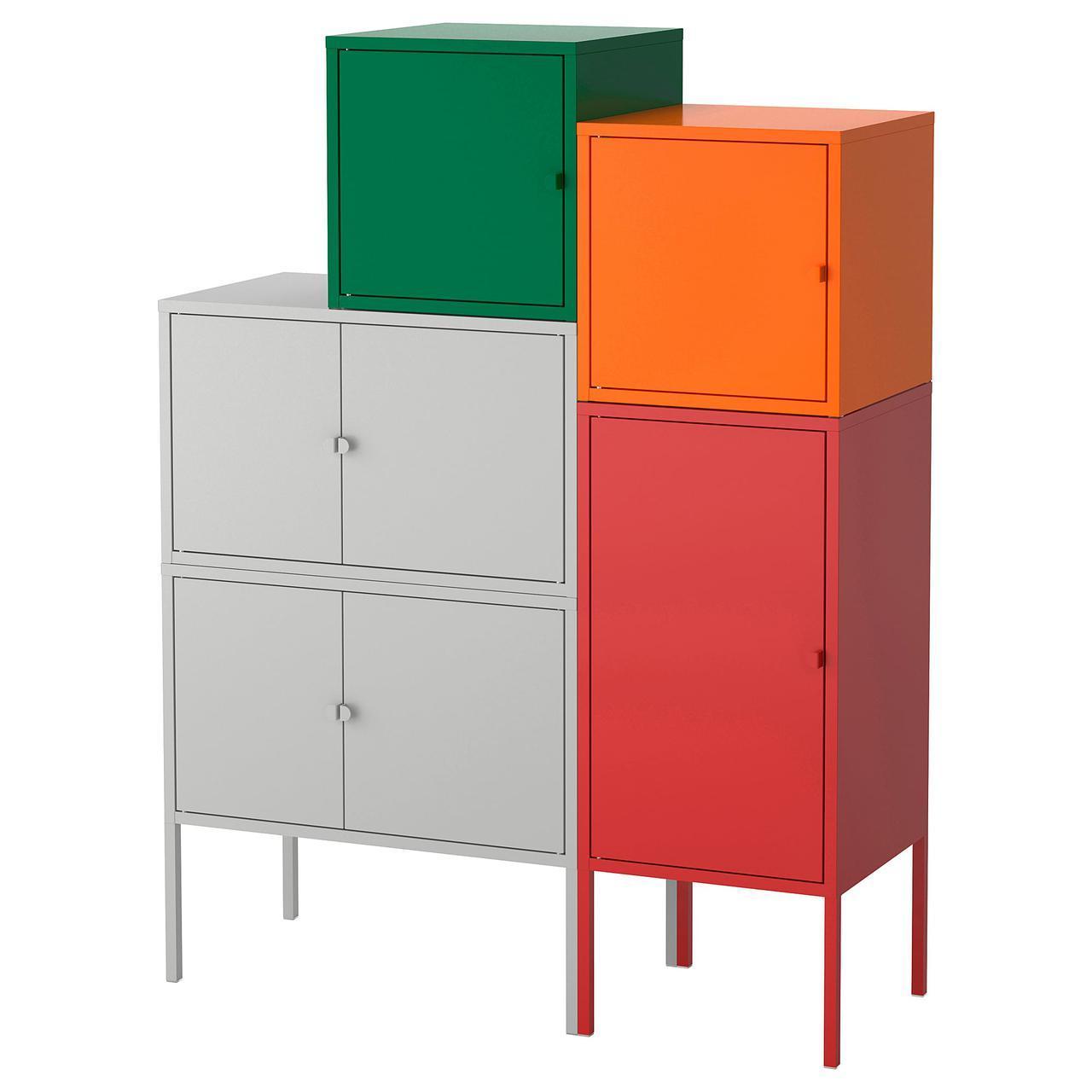 IKEA LIXHULT (092.489.16) Шкаф, серый /оранжевый
