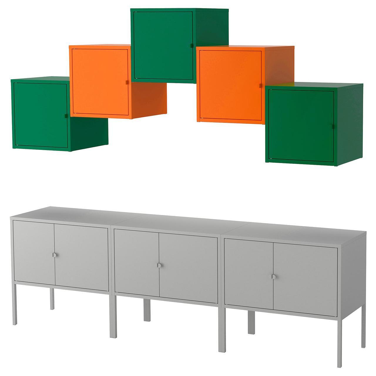 IKEA LIXHULT (892.489.22) Шкаф, серый , оранжевый