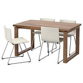 IKEA MORBYLANGA / BERNHARD (592.460.43) Стіл і 4 стільця коричневий, майковый білий