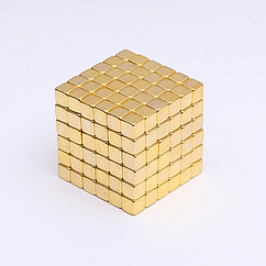 ЗОЛОТОЙ ТЕТРАКУБ [5мм * 216 кубиков] + Металлическая Коробка в Подарок (Неокуб NeoCube из кубов)