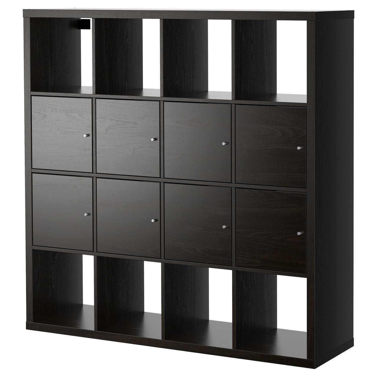 IKEA KALLAX (390.174.72) Шкаф с 8 вставками, черно-коричневый
