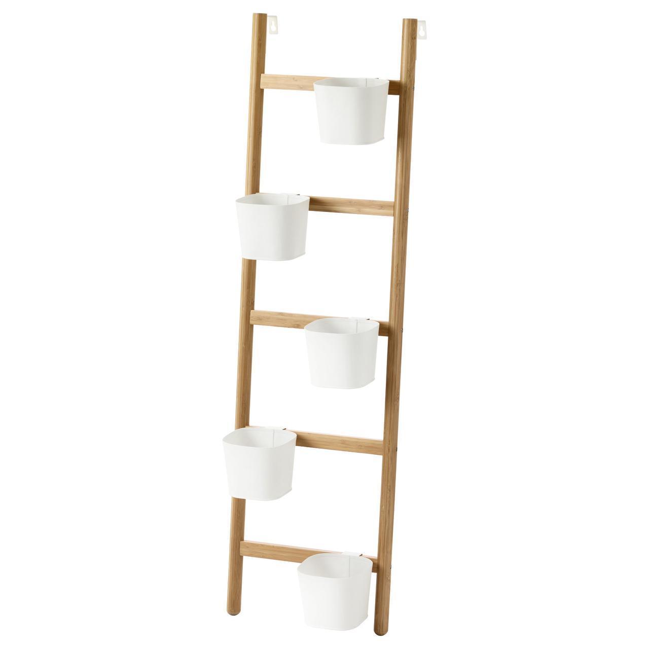 IKEA SATSUMAS (102.581.55) Подставка для растений с 5 горшками, бамбуком, белым