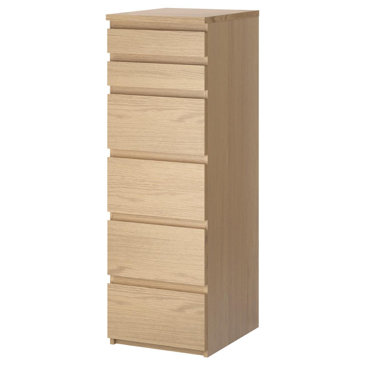 IKEA MALM (801.786.12) Комод, 6 ящиков, белый, зеркало
