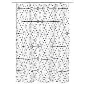 IKEA FOLJAREN (103.469.11) Завісу для душу, білий, чорний, сірий
