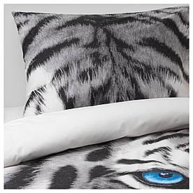 IKEA URSKOG (703.938.53) Комплект постільної білизни, тигр, сірий