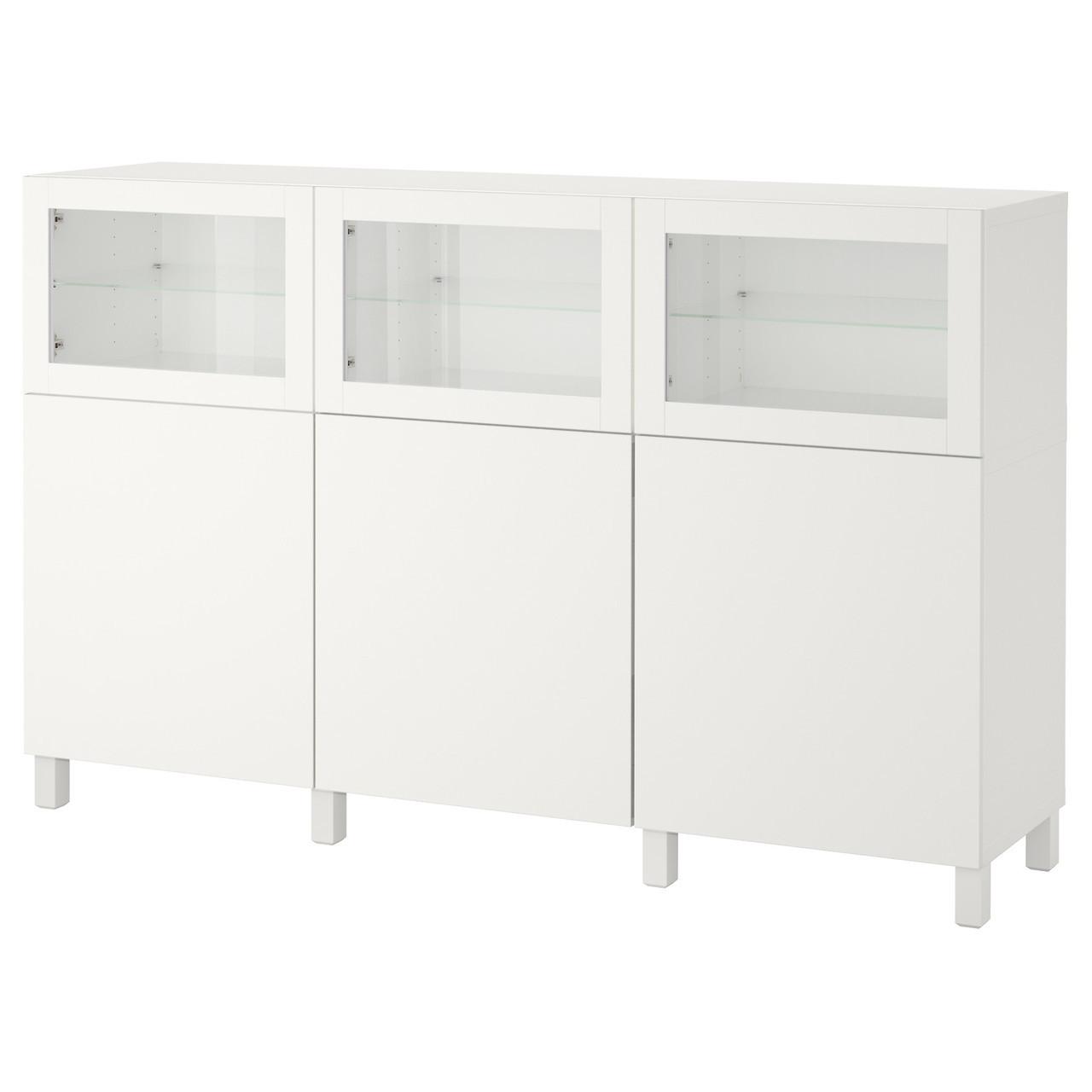 IKEA BESTA (092.080.29) Шкаф, белый Lappviken, светло-серое бесцветное стекло