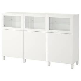 IKEA BESTA (092.080.29) Шафа, білий Lappviken, світло-сіре безбарвне скло