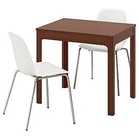 IKEA EKEDALEN / LEIFARNE (992.214.32) Стол и 2 стула, коричневый, белый