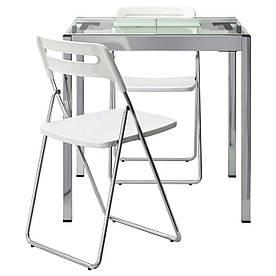 IKEA GLIVARP / NISSE (291.973.79) Стол и 2 стула, прозрачные, хромированные