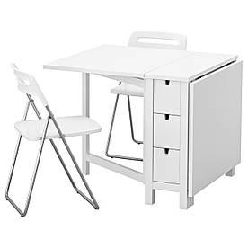 IKEA NORDEN / NISSE (192.297.43) Стол и 2 раскладных стула, белый