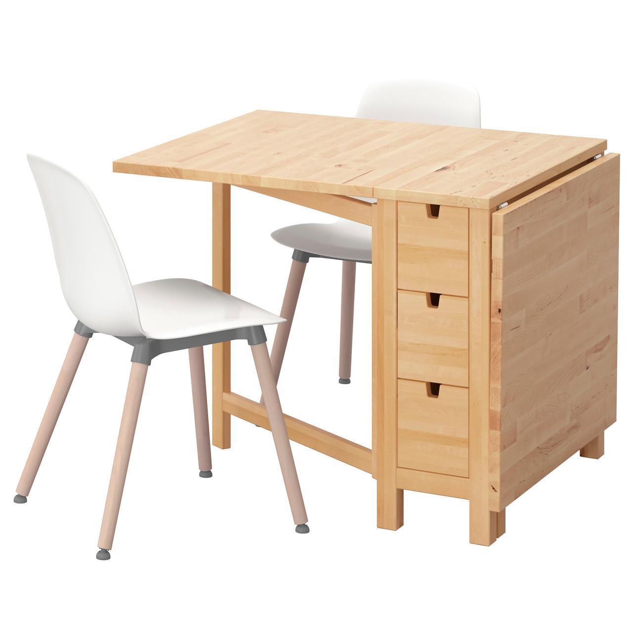 IKEA NORDEN / LEIFARNE (491.614.97) Стол и 2 стула, белая