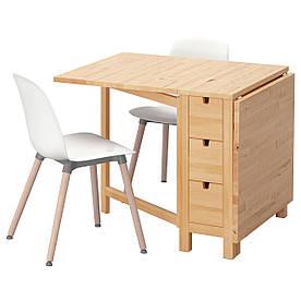 IKEA NORDEN / LEIFARNE (491.614.97) Стіл і 2 стільці, біла