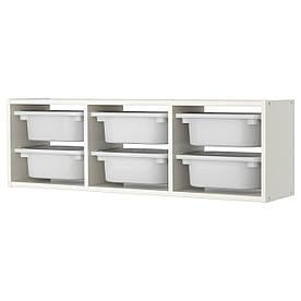 IKEA TROFAST (798.983.06) Настенный шкаф, белый, Шкаф с контейнерами, черный, ящик белый