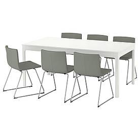 IKEA EKEDALEN / BERNHARD (292.213.55) Стіл та 6 стілець, білий