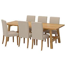 IKEA MOCKELBY / HENRIKSDAL (791.614.91) Стіл та 6 стільців, набивання, натуральний Линнерид