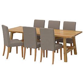 IKEA MOCKELBY / HENRIKSDAL (991.614.90) Стіл та 6 стільців, даб, Нобхага сіро-коричневий