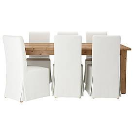 IKEA STORNAS / HENRIKSDAL (599.173.39) Стіл та 6 стільців, пляма патини, біле біле