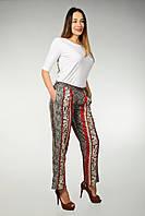 Штаны женские укороченные на резинке, красно-черный принт, 44-52 размеры, фото 1