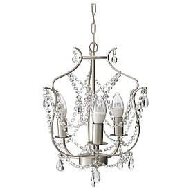 IKEA KRISTALLER (800.894.61) Підвісна лампа, 3 зброї, срібло, скло