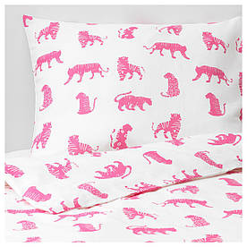 IKEA URSKOG (104.027.56) Комплект постільної білизни, тигр, рожевий