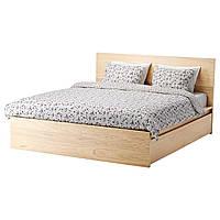 IKEA MALM (191.766.12) Кровать, высокая, 2 контейнера, белый витраж, Luroy