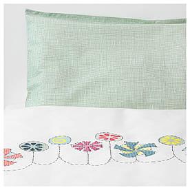 IKEA BUSSIG (903.654.39) Комплект постільної білизни для дитини, білий, зелений