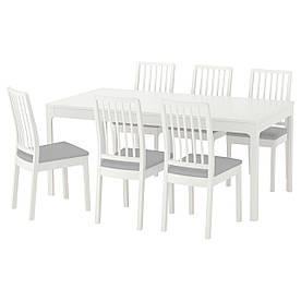 IKEA EKEDALEN / EKEDALEN (192.213.51) Стіл та 6 стілець, білий, Orrsta світло-сірий