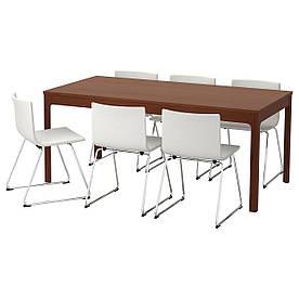 IKEA EKEDALEN / BERNHARD (992.214.46) Стіл та 6 стільців, коричневий, мюк білий