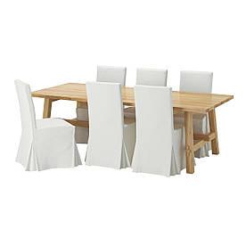 IKEA MOCKELBY / HENRIKSDAL (692.762.56) Стіл та 6 стільців, білий, Блекінге білий