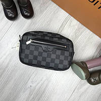 Брендовый женский клатч Louis Vuitton черный серый кожа PU ручка на  запястье унисекс Луи Виттон люкс c3f9c54a89253