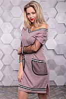 Персиковое молодежное женское платье, фото 1