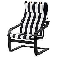 IKEA POANG (791.813.14) Кресло, черный бриз, Lysed ярко-зеленый
