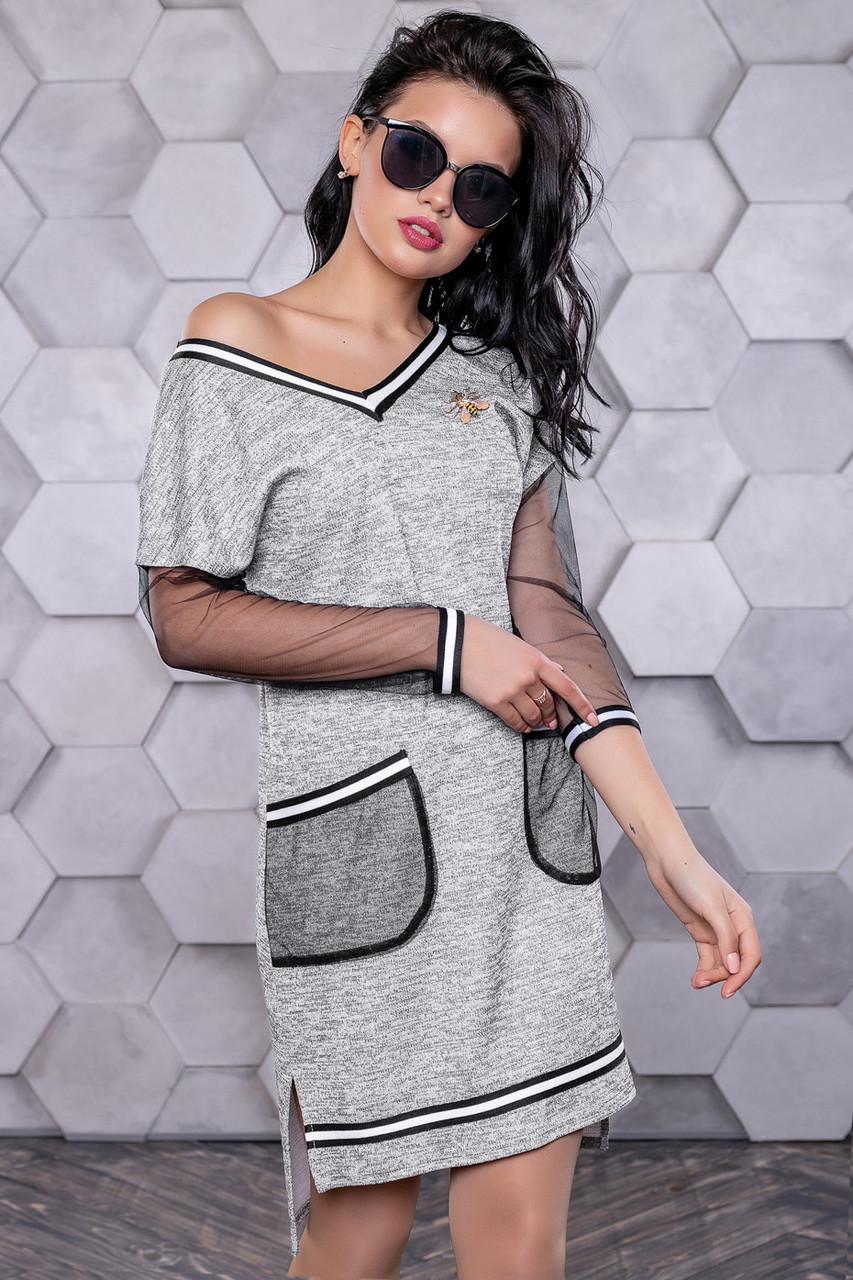 Платье женское серое асимметричное в городском стиле