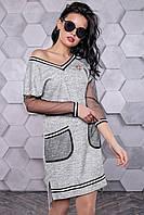 Платье женское серое асимметричное в городском стиле, фото 1
