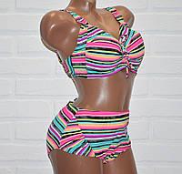 Большой 56 размер 5XL раздельный женский купальник в полоску, на завязках