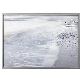 IKEA BJORKSTA (591.734.90) Изображение с рамкой, зимние волны, серебро