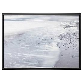 IKEA BJORKSTA (291.734.96) Изображение с рамкой, зимние волны, серебро