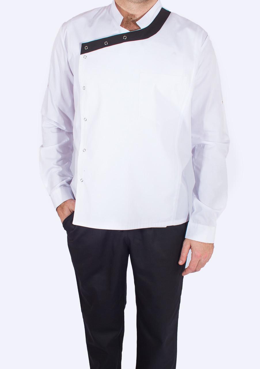 Мужской поварской китель белого цвета с кантом