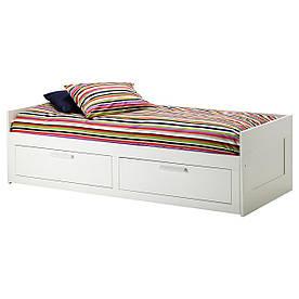 IKEA BRIMNES (791.300.27) Кушетка з 2 матрацами і 2 ящиками, білий, твердий Мосулт